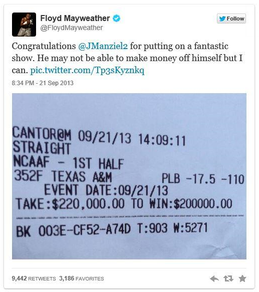 Floyd Mayweather Tweet after winning 200K